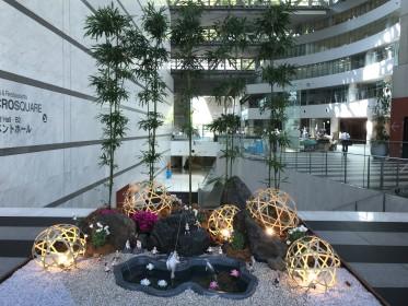 アクロス福岡エントランス飾り2018年7月  「あかり絵の世界展さま作品」